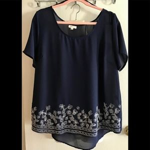 Mine 100 plus size shirt navy and white size 2 X.